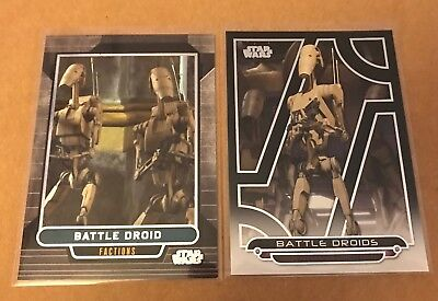 BATTLE DROID Topps Star Wars trading card lot of 2 different