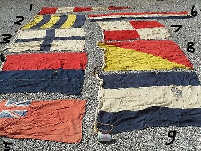Job Lot 9 Large Vintage Marine Flags Pennant Signal Type Flag All Have Lot Rips