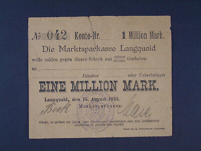 Scheck - 1 Million Mark - Marktsparkasse Langquaid - 15.Aug 1923 -Geldschein