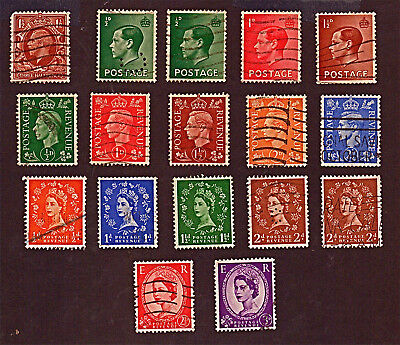 GR.BRITAIN 17 1912-54 Kings George&Edward&Queen E.+ Stamps Used See Descr FUS794