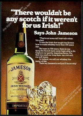 1974 John Jameson's Irish Whiskey bottle rocks glass photo vintage print ad