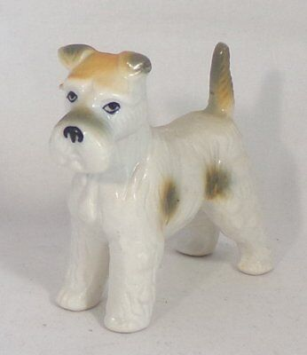 Glazed Bone China 'Wire Haired Fox Terrier' Dog Figurine
