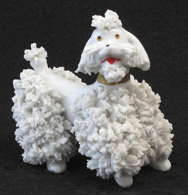 Vintage White Spaghetti Poodle Figurine Gold Colored Collar 1950s
