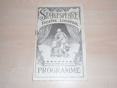 """Feb 1927 Liverpool Shakespeare Theatre Programme """"Dracula"""" Play+Local Adverts"""