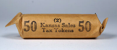 Rare Uncirculated Roll of 50 Kansas State Sales Tax Tokens Coin 2 Token
