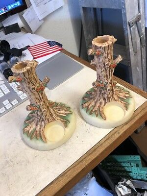 "Pair of Hummel Goebel Tree Form 6.5"" Candlesticks & Votive Holders VGC"