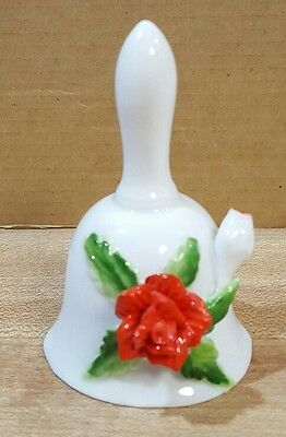 "Bone China Mini Bell With Rose 3.25"" Tall"
