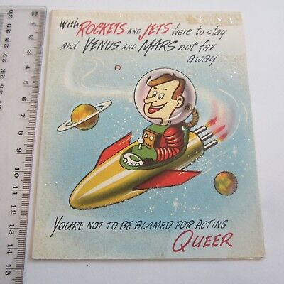Vintage Greeting Card Happy Birthday space race 1950s atomic Acting Queer used