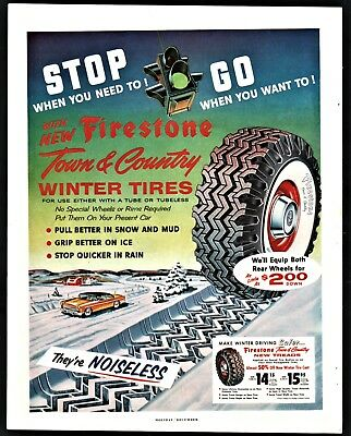 1955 FIRESTONE Town & Country Winter Tires w/original price Garage Decor AD