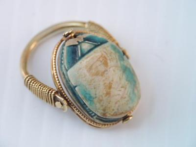 Antique Ancient Egyptian Beetle Scarab 14K Gold  Ring, It Swivels Look