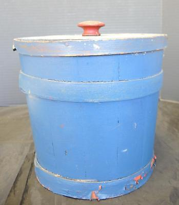 Antique Turn of the Century Old Blue Cylindrical Shaped Firkin With Red Knob