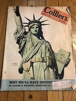 Vintage June 27, 1942 Collier's Magazine Statue of Liberty 1940s Advertising