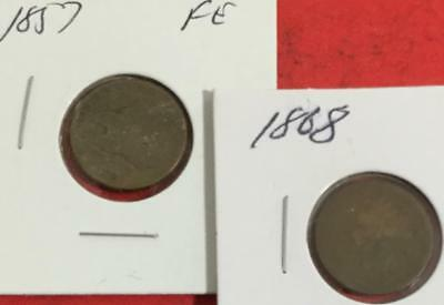 1857 US Flying Eagle & 1868 US Indian Head Cent Set of 2 Carded Coins!