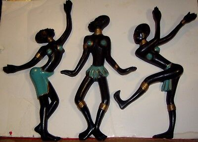 Black Native Dancers-Set Of 3 Painted Burwood Wall Ornaments-1950's/60's-Vg Cond