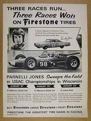 1964 Parnelli Jones Mercury Stock & Lotus Ford Race Cars Firestone vintage Ad