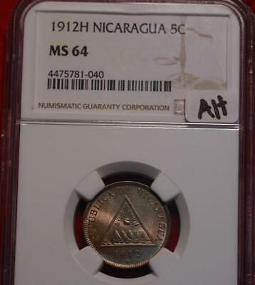 1912H Nicaragua 5 Centavos Coin NGC Graded MS 64