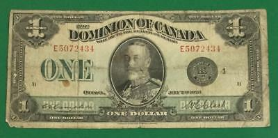 """1923 $1 Dominion of Canada """"LARGE SIZE"""" Currency! Old Paper Money HORSEBLANKET!"""