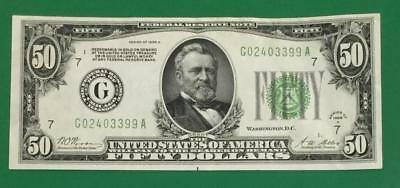 """1928A $50 """"Redeemable in GOLD"""" """"BIG G"""" Chicago X399 Choice XF! Old US Currency"""