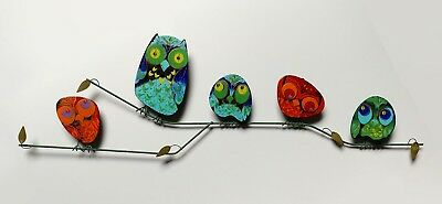 Signed Original Vintage CURTIS JERE Enameled OWLS Wall Sculpture