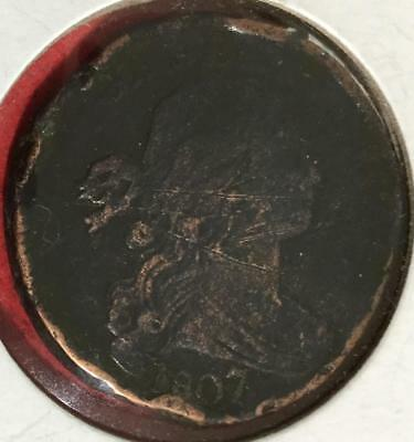 1807 7 Over 6 STRONG Overdate LARGE CENT! Old US Coins!