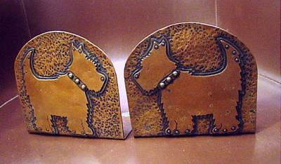 Handsome Antique Hand Hammered Solid Copper Scottie Dog Bookends W/ Applied Dogs