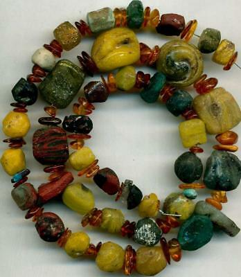 Roman Ancient Glass Beads Blue Green Red ~Centuries Old~Authentic Encrusted 17""