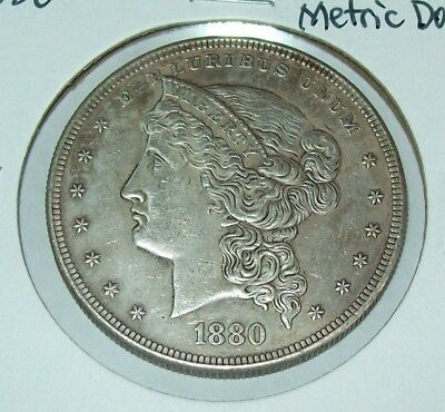 1880 Pattern Coin Silver Dollar Fantasy Issue Copy Coins Barber Head Metric