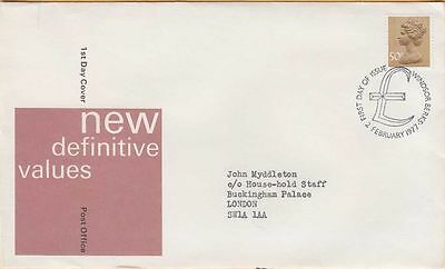 BRITISH ROYAL COLLECTION ~ 2.2.1977 NEW DEFINITIVE VALUES ~ 50p FDC #2