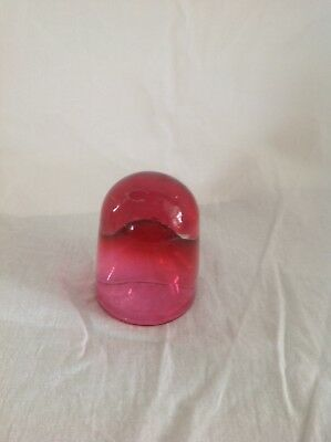 antique Victorian ice cream lick cranberry glass acid etched W3 London