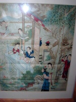 Antique Chinese Print On Silk Ladies Children Garden Scene