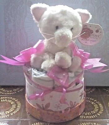 BABY GIRL KEEPSAKE / GIFT BOX - With Lucky Sixpence & Keel Toys Blossom Cat