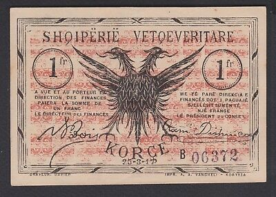 "1917 Albania. Local  Paper Money, Korca. 1FR. Serie ""B""  UNC."