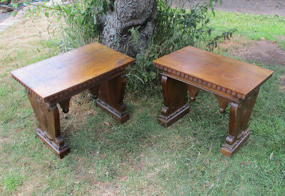 Pair of Italian Adam Style Carved Side / Sofa / Occasional Tables C1900