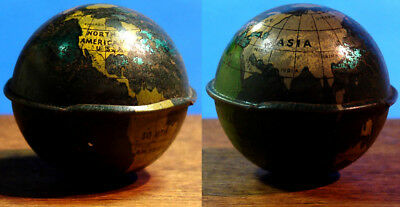 Old Cracker Jack Pop Corn Confection Lithographed Tin Earth Globe Toy Prize