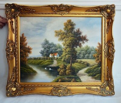 Stunning P. Wilson Signed Vintage Oil on Canvas Landscape Painting in Gilt Frame