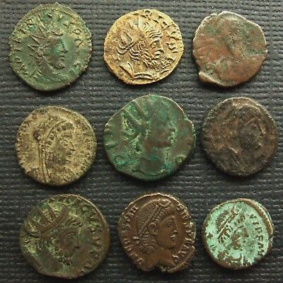 Roman Empire; A job lot of 9 AE coins; various types and issues.