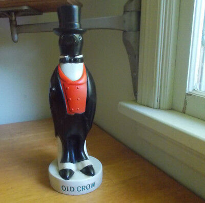 "Old Crow Whiskey Advertisement 13 1/2""tall Rubber Crow In Tuxedo Frankfort,ky"
