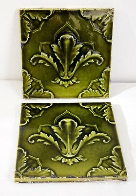 Superb Pair of Victorian Antique Ceramic Tiles with Green Foliage Leaf Deign