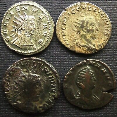 Roman Empire; A job lot of 4 AR or AE coins; various types and issues.