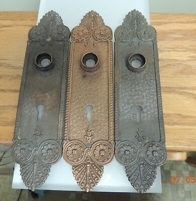 3 Antique Matching Door Knob Bronze Back Plates Beautiful Design - See Pictures