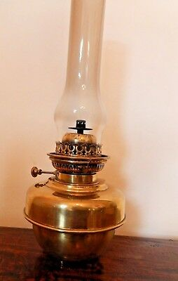 Large Brass Veritas Oil Lamp with Chimney and Extinguisher - working