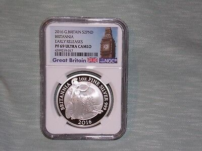 2016 NGC PF 69 Ultra cameo £2 .999 Silver Britannia EARLY RELEASES *Lowest Price