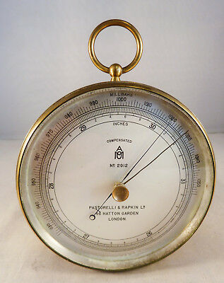 Antique Ships Brass Cased Barometer  Pastorelli & Rapkin  Hatton Garden London