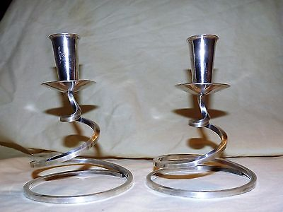 FISHER K202 Silverplate CANDLESTICK HOLDERS Spiral Midcentury Danish Modern