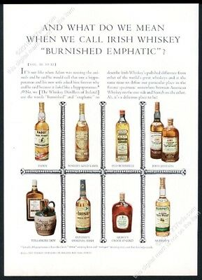 1960 John Jameson Tullamore Dew Paddy etc Irish Whiskey bottle color photo ad
