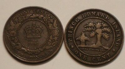 1861 & 1871 One Cents NEW BRUNSWICK & PRINCE EDWARD ISLAND Canada FULL DETAIL