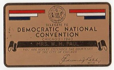 1940 Democratic Convention Chicago Brass Pass - Franklin Roosevelt Nominated