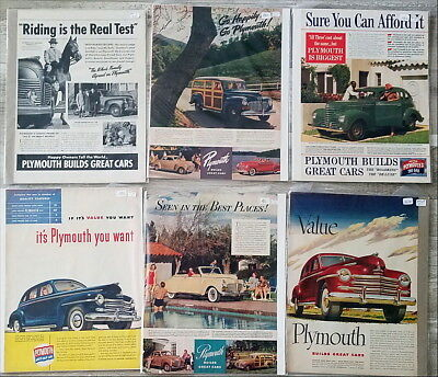 Lot of over 100 large Plymouth Car Ads  1930s 1940s 1950s 1960s