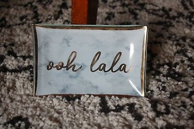 Marble Ring Trinket Jewellery Dish Tray w Gold Ooh Lala Calligraphy Slogan. New.