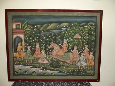 Old Antique Vintage Large Indian Painting On Fabric Then Backed With  Hardboard